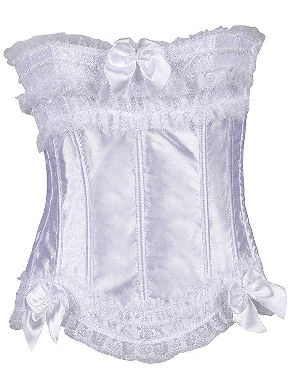 Bowknot Lace-Up Waist Slimming CorsetWomen<br><br><br>Size: M<br>Color: WHITE