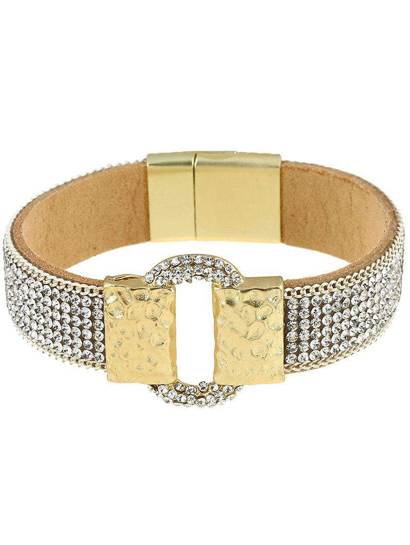 Rhinestone Faux Leather Alloy Bracelet - SILVER