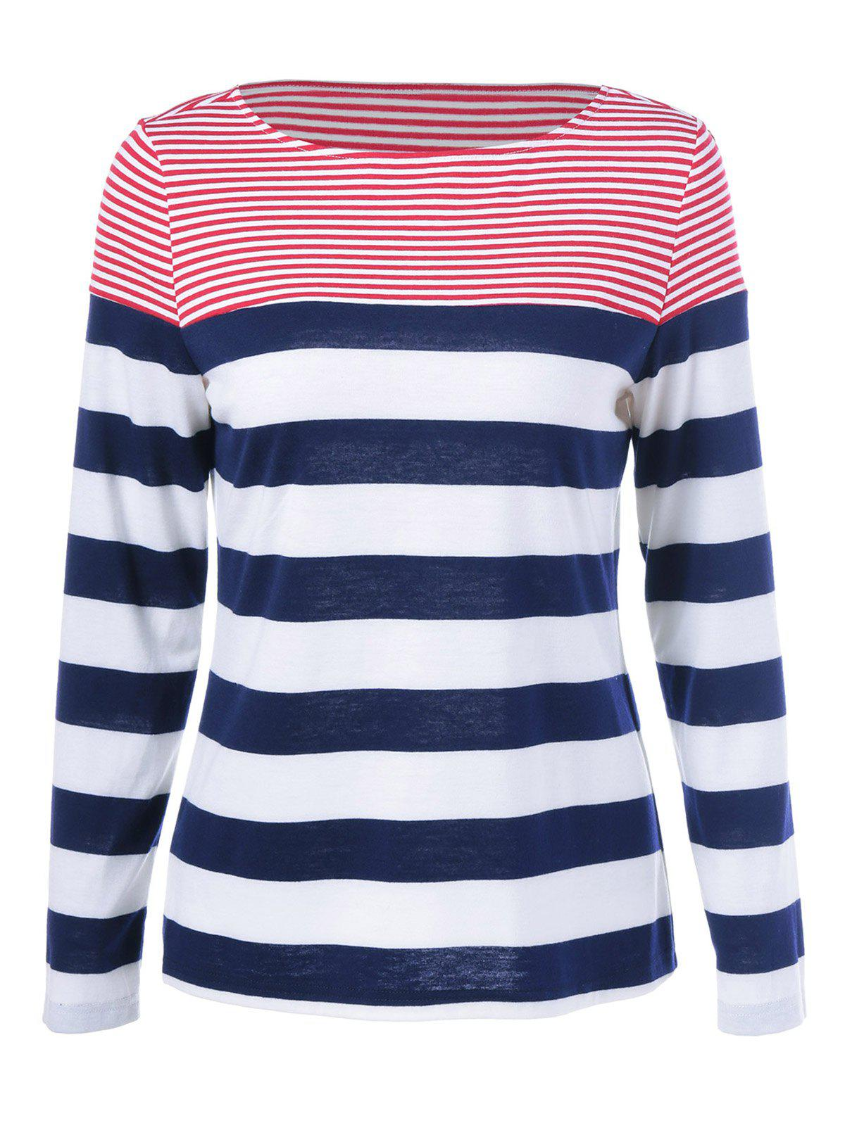 Striped Long Sleeves T-Shirt - COLORMIX XL
