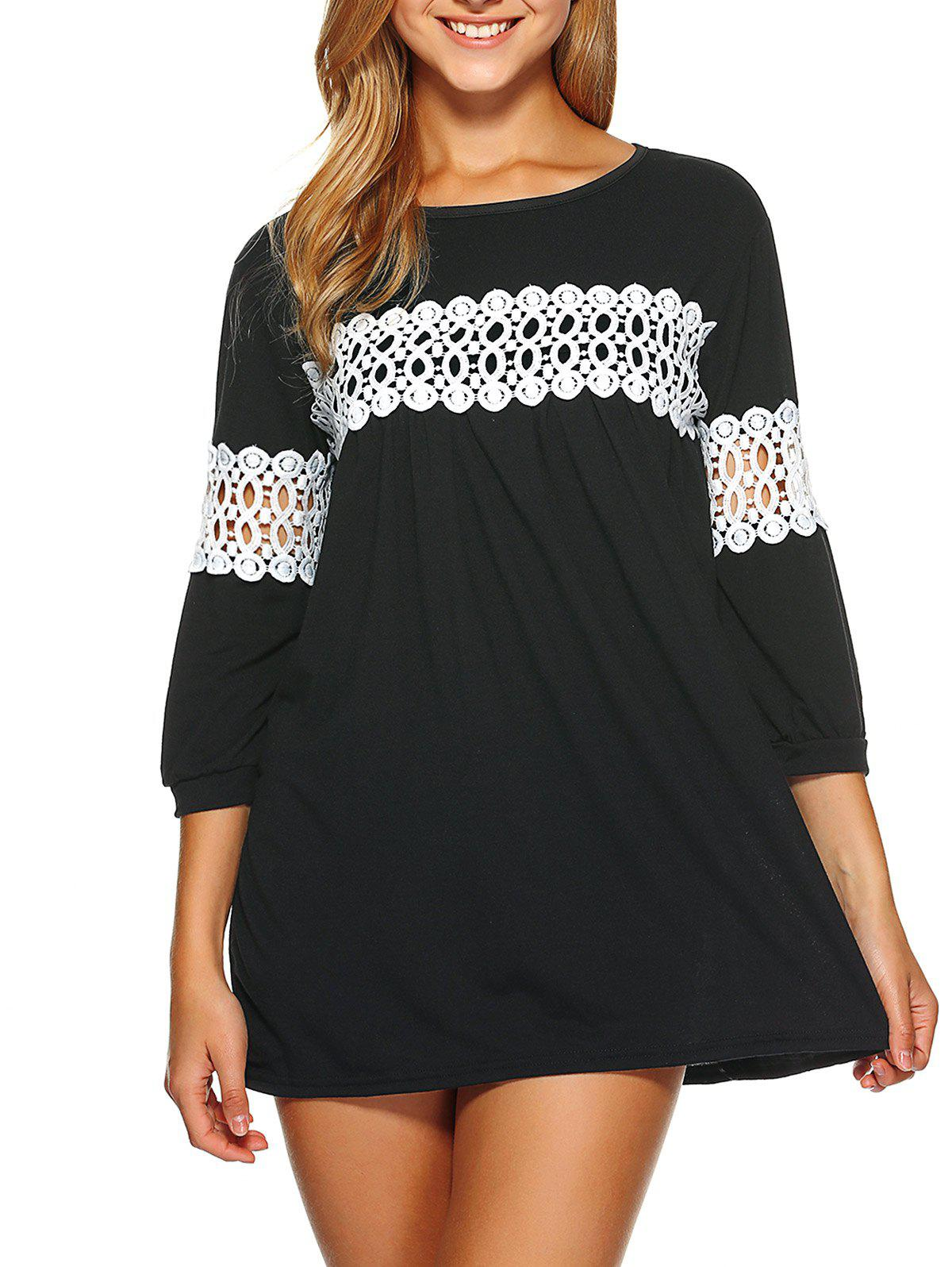 Lace Insert Loose-Fitting Mini Dress - BLACK S
