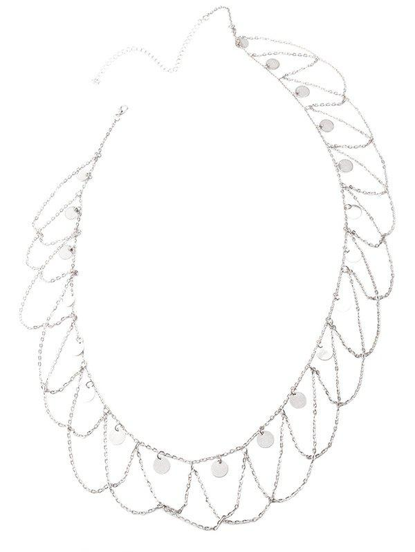 Round Sequins Wave Tassel Belly Chain - SILVER