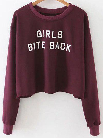 Cropped Drop Shoulder Sweatshirt - WINE RED M