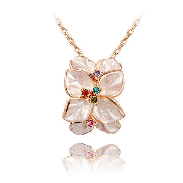 Rhinestone Petal Artificial Crystal Pendant Necklace equte elegant gorgeous rhinestone studded petal shaped pendant sweater necklace white
