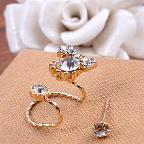 Rhinestone Bowknot 2PCS Earrings Set - GOLDEN
