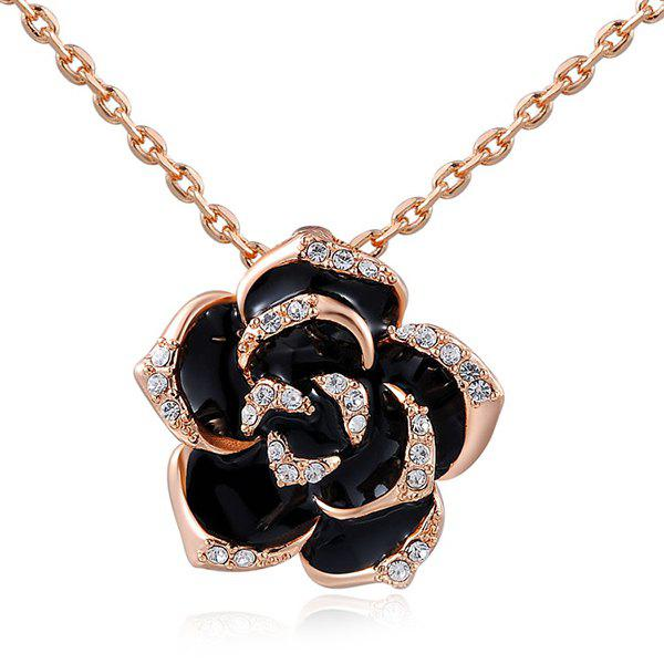 Rhinestone Floral Pendant Necklace - ROSE GOLD
