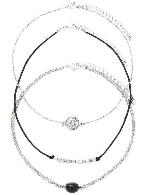 Alloy Oval Engraved Sun Beaded Chokers - SILVER
