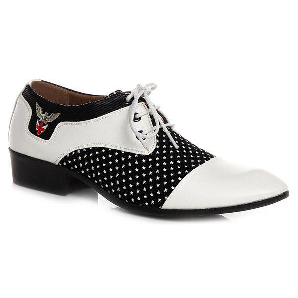 Metal Tie Up Splicing Formal Shoes - WHITE/BLACK 41