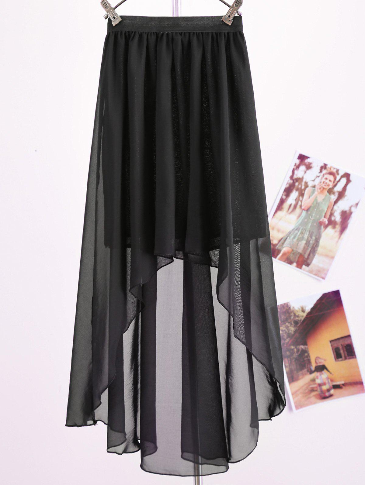 Women's Chiffon Pleated Retro Asymmetrical Swallow Tail Short Elastic Waist Skirt - BLACK ONE SIZE