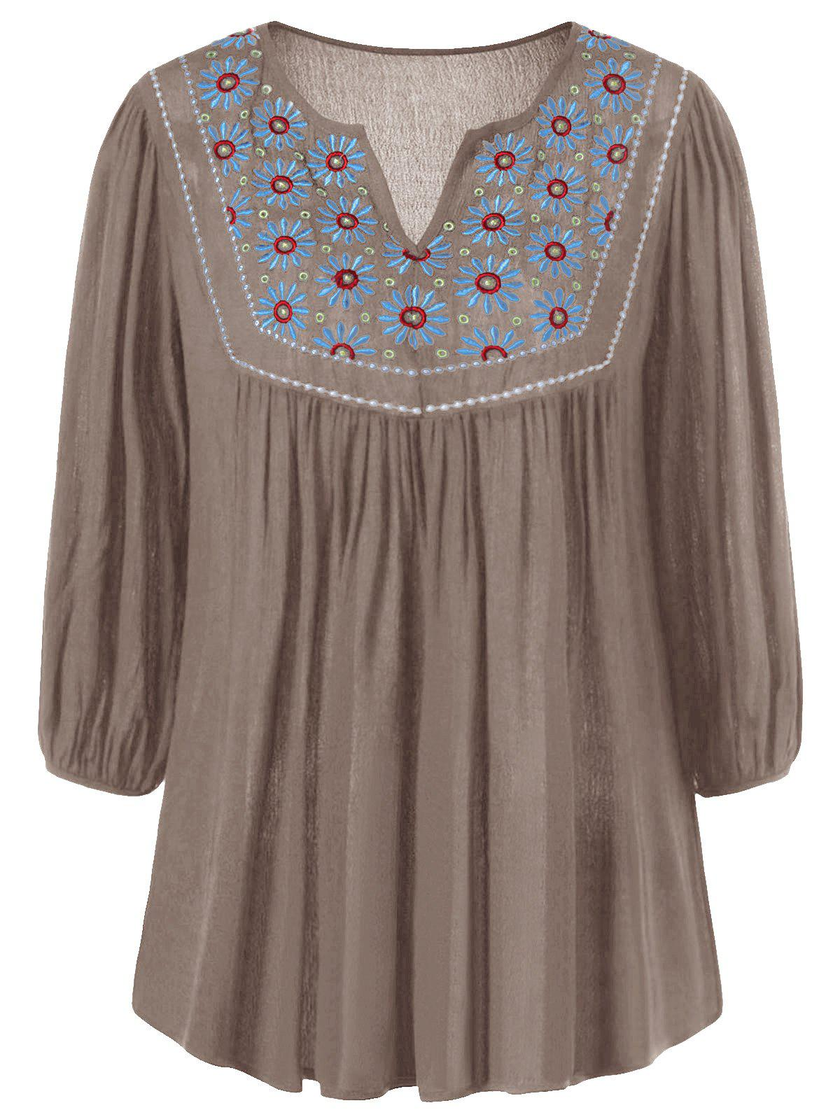 Floral Embroidered Maxican Peasant Blouse - KHAKI S