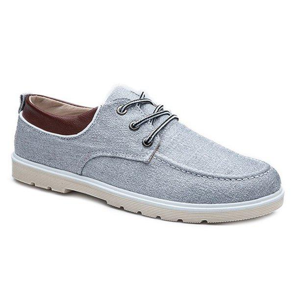Tie Up Color Block Splicing Canvas Shoes - LIGHT GRAY 42