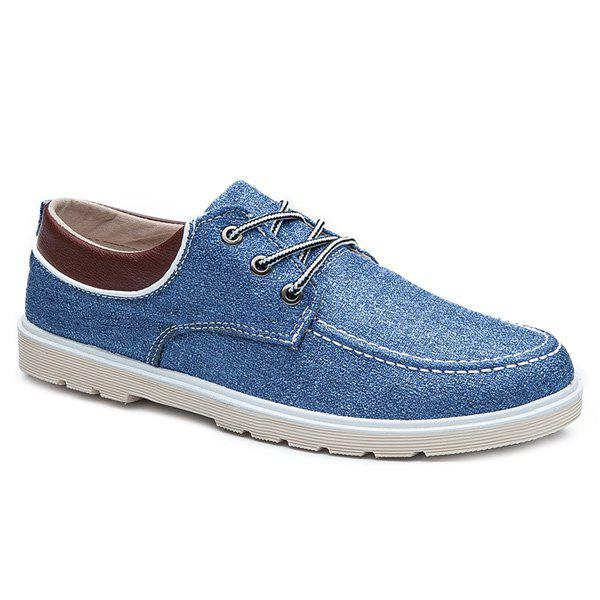 Tie Up Color Block Splicing Canvas Shoes - BLUE 41