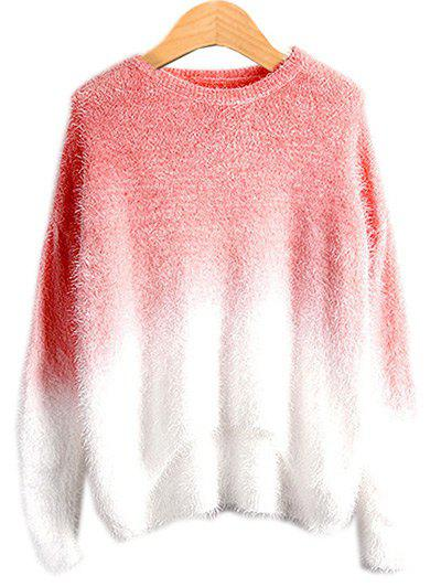 High Low Ombre Sweater - WATERMELON RED ONE SIZE