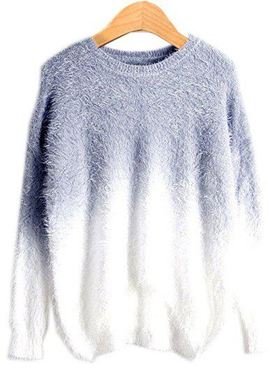 High Low Ombre Sweater - SMOKY GRAY ONE SIZE