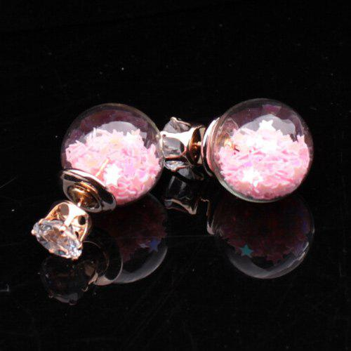 Transparency Ball Star Stud Earrings - PINK