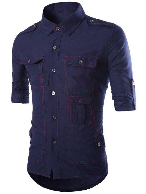 Turn-Down Collar Long Sleeve Multi-Pocket Epaulet Design Shirt - CADETBLUE 2XL