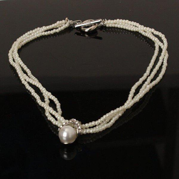 Layered Fake Pearl Beaded Necklace - AS THE PICTURE