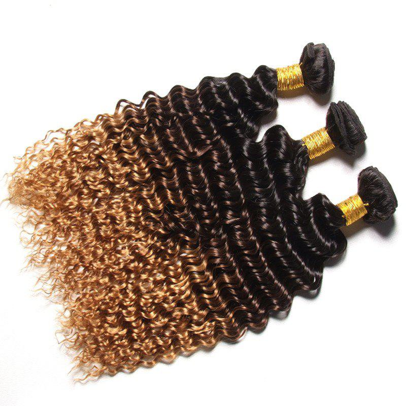1 PCS Multi Color 6A Virgin Deep Curly Brazilian Hair Weaves - COLORMIX 12INCH