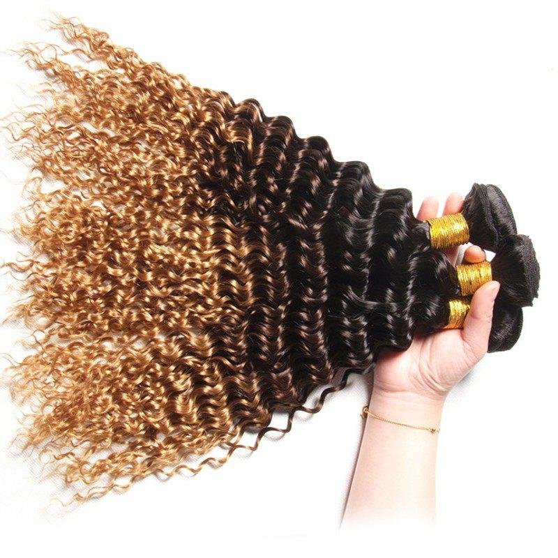 1 PCS Multi Color 6A Virgin Deep Curly Brazilian Hair Weaves - COLORMIX 14INCH