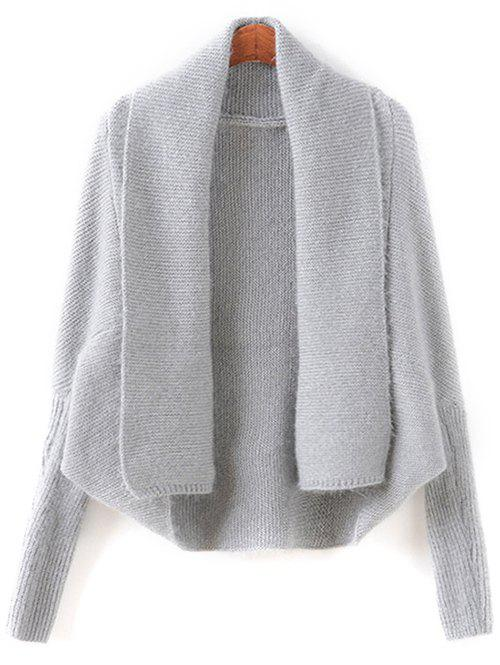 Batwing Sleeve Convertible Cape Cardigan - GRAY ONE SIZE