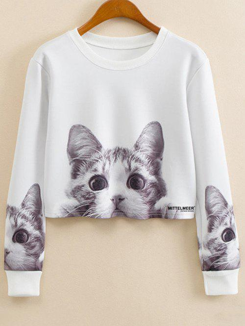 Crew Neck Cartoon Print Sweatshirt - WHITE L