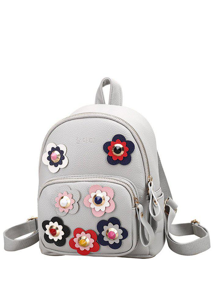 Rivets Color Block Flowers Backpack - LIGHT GRAY