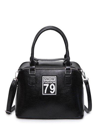 PU Leather Zipper Figure Pattern Tote Bag - BLACK