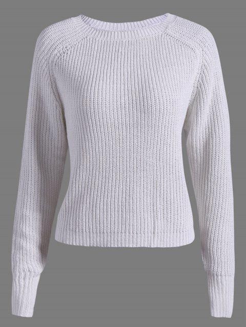 Casual Raglan Sleeve Short Sweater - WHITE ONE SIZE