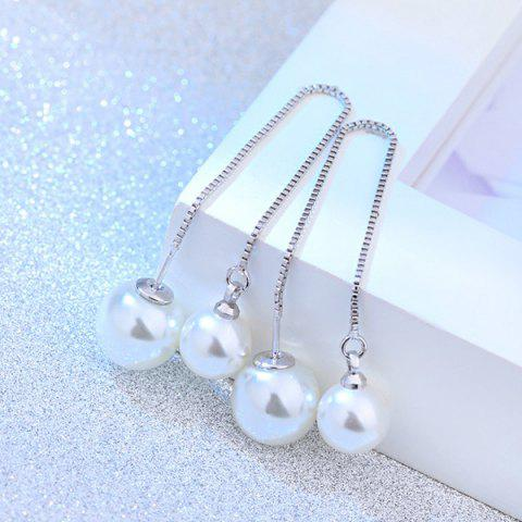 Adjustable Chain Faux Pearls Earrings - WHITE