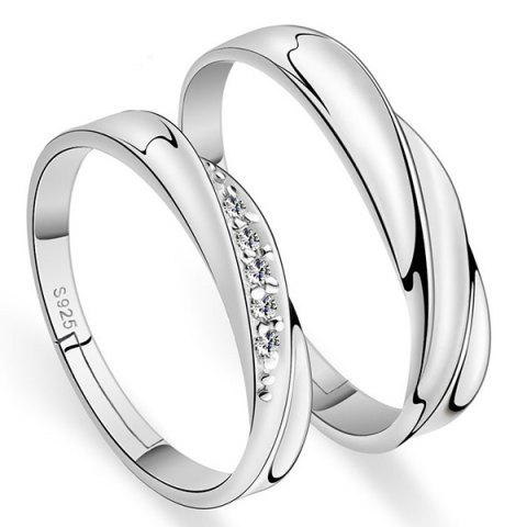Brief Polished Rhinestone Love Rings - SILVER