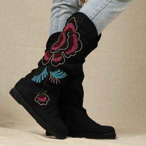 Ethnic Style Embroidered Canvas Mid-Calf Boots - BLACK 39
