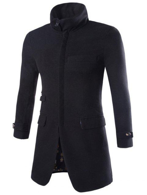 Zip Up Turndown Collar Longline Woolen Coat - BLACK 2XL