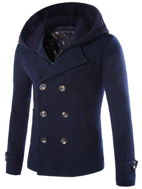 Detachable Knitting Hooded Zip-Up Double-Breasted Woolen Coat - CADETBLUE 2XL