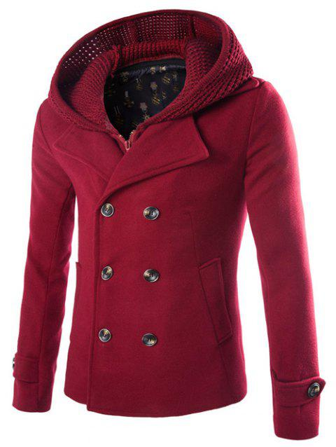 Detachable Knitting Hooded Zip-Up Double-Breasted Woolen Coat - WINE RED XL