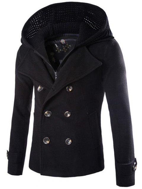 Detachable Knitting Hooded Zip-Up Double-Breasted Woolen Coat - BLACK M