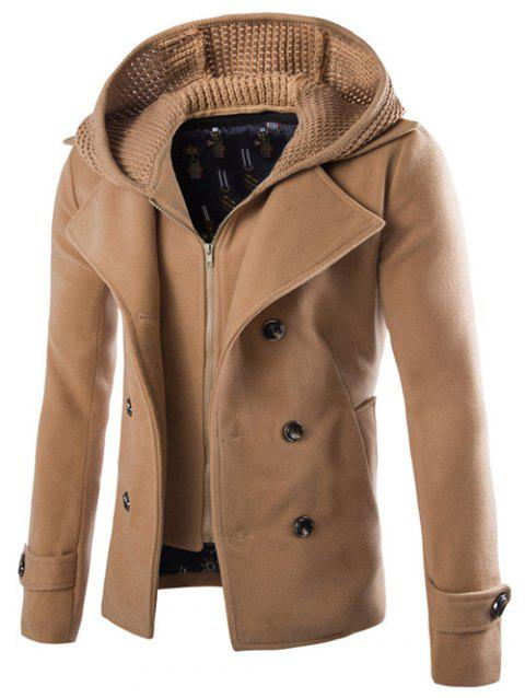 Detachable Knitting Hooded Zip-Up Double-Breasted Woolen Coat - CAMEL XL