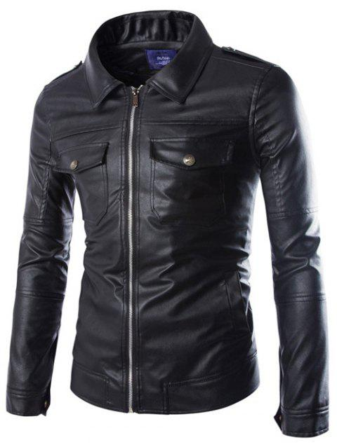 Pockets Design Turn-Down Collar Zip-Up PU-Leather Jacket - BLACK L