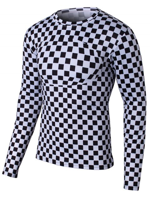 Long Sleeve Round Neck Grid Pattern T-Shirt - WHITE XL