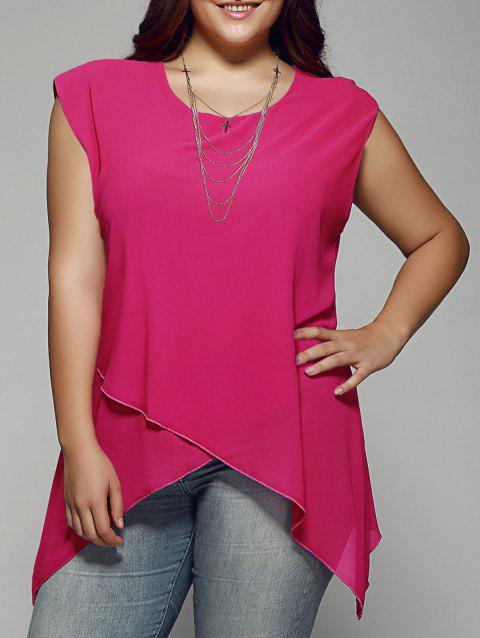 Plus Size Asymmetrical Chiffon Blouse - WATERMELON RED XL