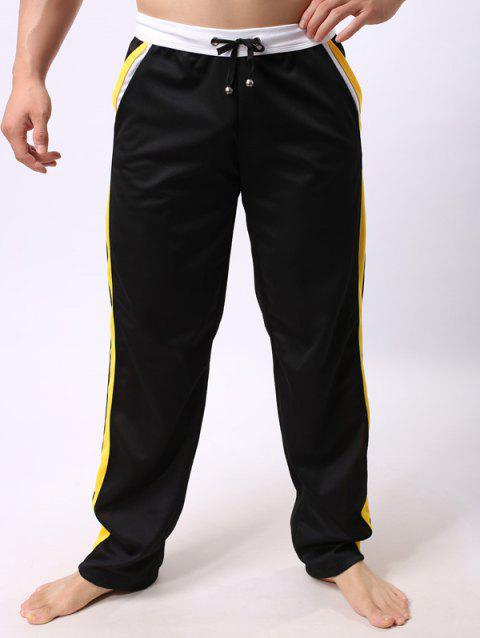 Lace-Up Straight Leg Color Block Edging Splicing Sports Pants - BLACK XL