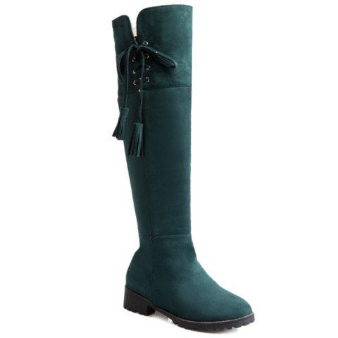 Suede Fold Down Tassel Knee-High Boots - GREEN 41