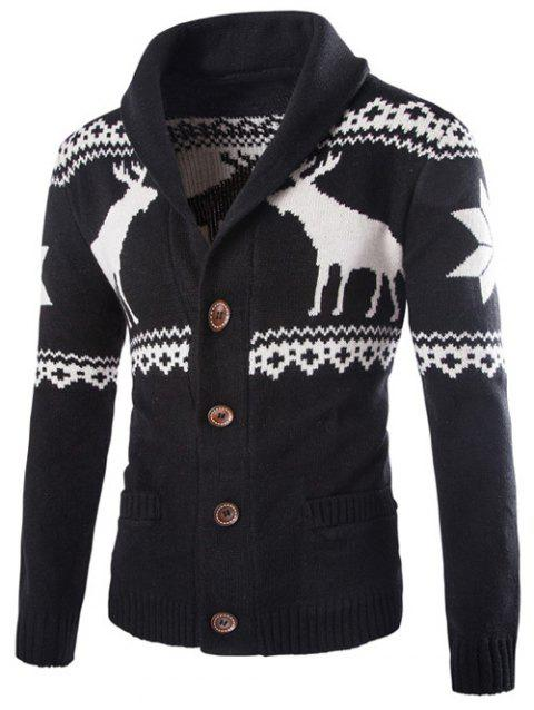 Ethnic Style Elk Print Turn-Down Collar Single-Breasted Cardigan - BLACK M