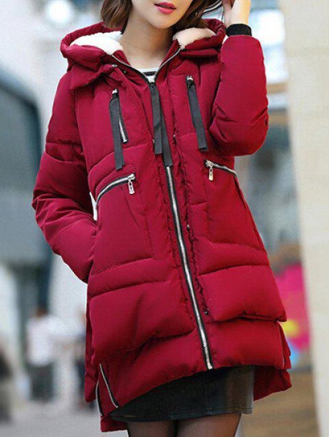 Hooded Puffer Coat - WINE RED M