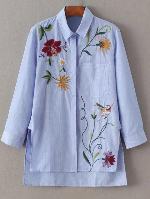 Striped Embroidered Shirt - BLUE XS