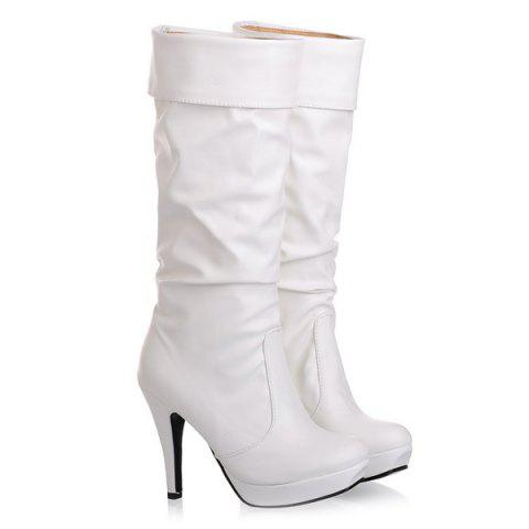 Ruched PU Leather Cone Heel Mid-Calf Boots - WHITE 42