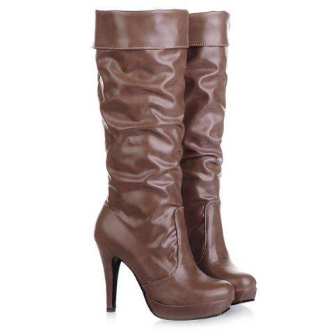 Ruched PU Leather Cone Heel Mid-Calf Boots - BROWN 41