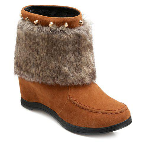 Faux Fur Studded Hidden Wedge Short Boots - LIGHT BROWN 39