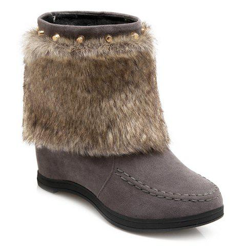 Faux Fur clouté Invisible Wedge Bottes - Gris 42