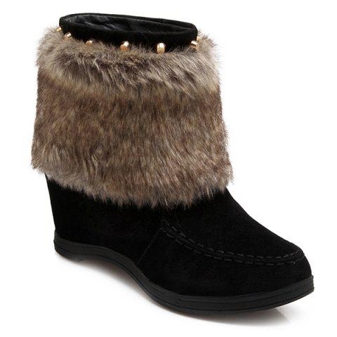 Faux Fur Studded Hidden Wedge Short Boots - BLACK 43