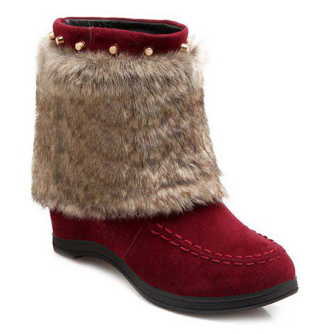 Faux Fur Studded Hidden Wedge Short Boots - RED 40