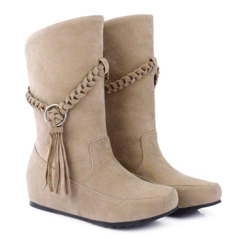 Fringe Braid Suede Mid-Calf Boots - APRICOT 42